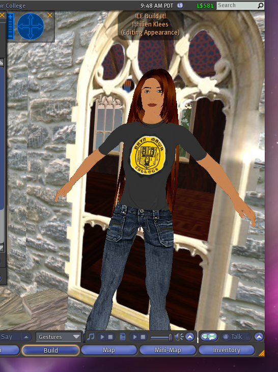 This is how I usually walk around in Second Life, advertising my affinity to Bryn Mawr and indulging in my fantasy of having ridiculously long hair.